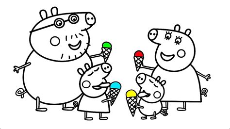 Learn Colors with Peppa Pig Family Coloring Pages Art