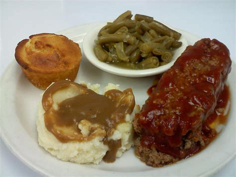 meatloaf dinner  mashed potatoes green beans corn