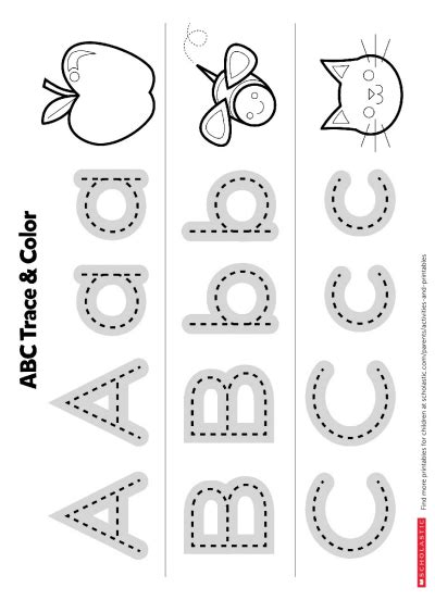 trace the abcs printable worksheets printables