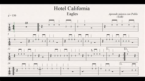 Hotel California Tab (guitarra) (tablatura Con Playback) Youtube
