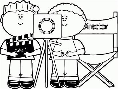Camera Coloring Pages Behind Clip Film Drawing