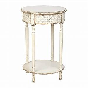 Distressed White Round Accent Table Kirklands