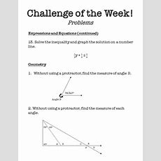 Challenge Of The Week  6th Grade Math By Middle School Math Man