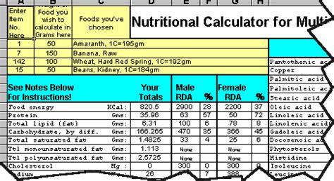 food calorie spreadsheet nutritional calculator spreadsheet usa emergency supply
