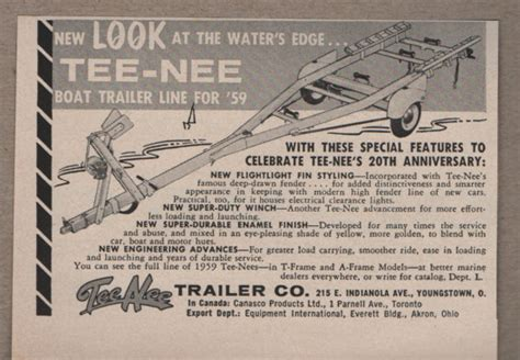 Boat Parts Youngstown Ohio by 1959 Vintage Ad Tee Nee Boat Trailers Youngstown Ohio