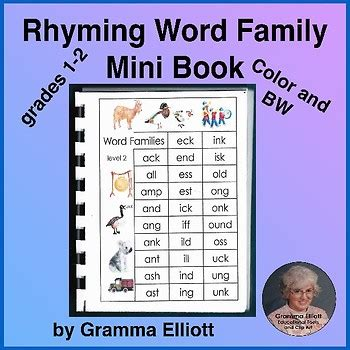 rhyming word family mini book in color and bw by gramma