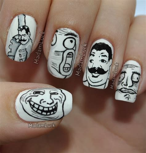 Meme Nail Art - meme faces nail art by madamluck on deviantart