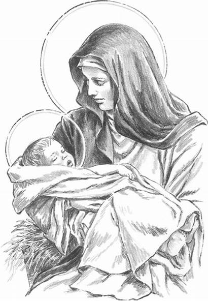 Jesus Mary Virgin Blessed Mother Drawings Drawing