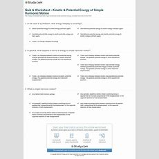Quiz & Worksheet  Kinetic & Potential Energy Of Simple Harmonic Motion Studycom