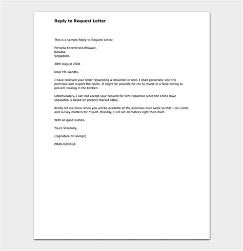 response letter   request format  samples