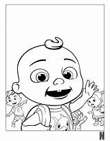 Coloring Cocomelon Characters Character Fictional Prints sketch template