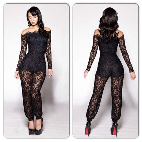 lace jumpsuit 15 black shoulder lace romper