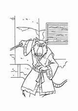 Coloring Splinter Tmnt Master Ninja Turtles Learned sketch template