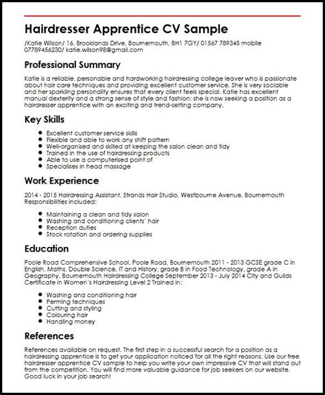 Apprentice Hairdresser Resume Sle by Hairdresser Apprentice Cv Sle Myperfectcv