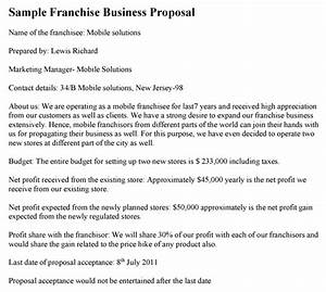 Bid Letter Template Franchise Business Proposal Template