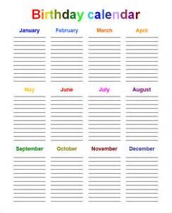 Free Birthday Calendar Template Microsoft Word