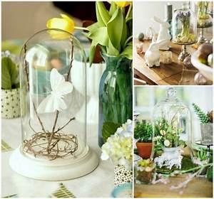 Cloche Verre Deco : deco de fete cloches verre remplies fleurs printemps oeufs brindilles papillons d co table ~ Teatrodelosmanantiales.com Idées de Décoration