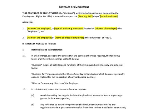 employment contract template uk template agreements
