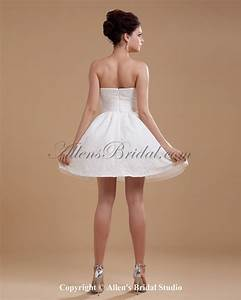 Allens bridal satin strapless short a line wedding dress for Short a line wedding dresses
