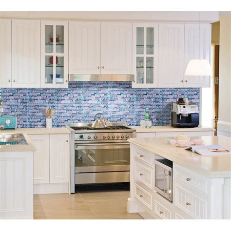 kitchen wall backsplash blue glass mosaic wall tiles gray marble tile