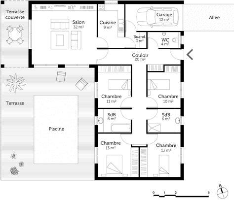 plan maison plain pied 4 chambres garage plan maison en l avec 4 chambres ooreka