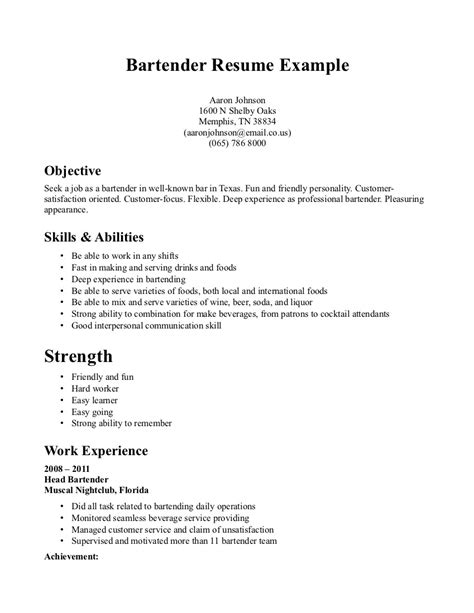 bartending resume for beginners exle of bartender resume 859 resume format