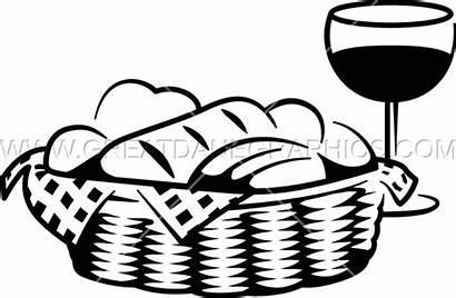 Basket Bread Clipart Picnic Transparent Wine Clip