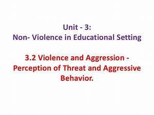 Non- Violence in Educational Setting
