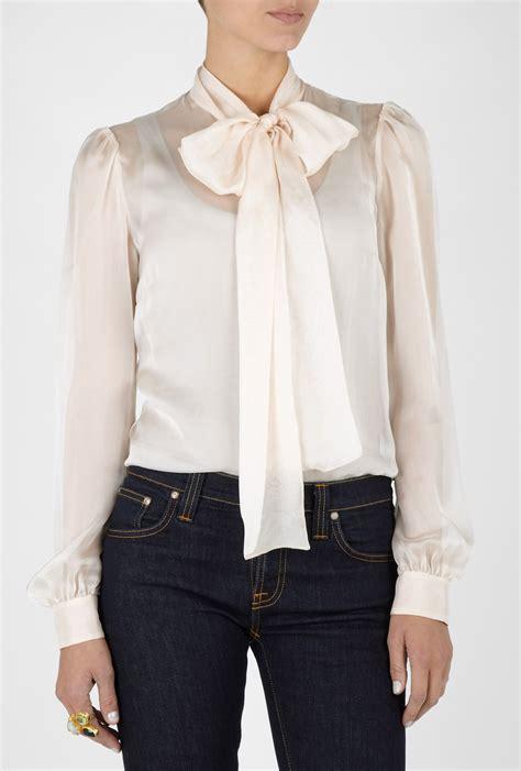 silk tie neck blouse d g tie neck silk chiffon blouse in beige lyst