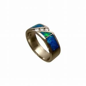 mens green blue opal diamond ring gold opal rings men With mens opal wedding ring