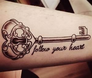 Follow Your Heart Key Tattoo On Arm | Tattooshunt.com