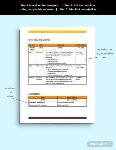 audit plan template word google docs apple mac pages