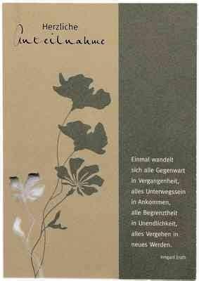 trauerkarte herzliche anteilnahme mit text von irmgard