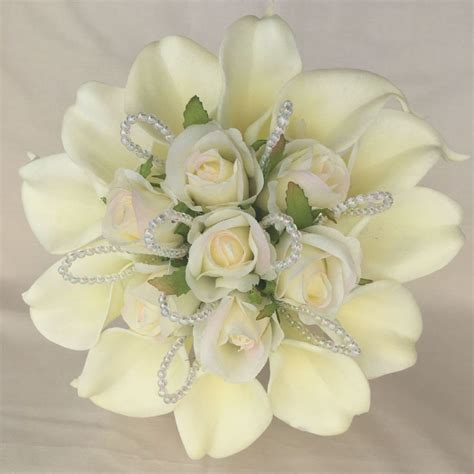bridal posy bouquet ivory cala lilies roses artificial