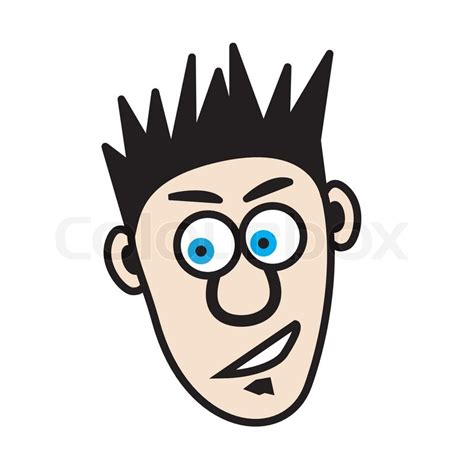 Another good haircut for guys that have thick or wavy hair. Illustration of a young cartoon man that has spiked hair and a soal patch | Stock Vector | Colourbox