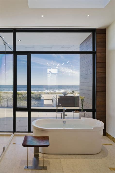 bathroom tub floor  ceiling windows summer retreat