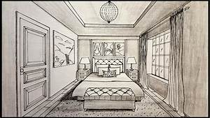 Drawing A Bedroom In One Point Perspective Timelapse - YouTube