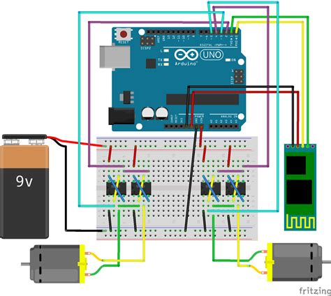 fritzing project arduino android bluetooth panzer