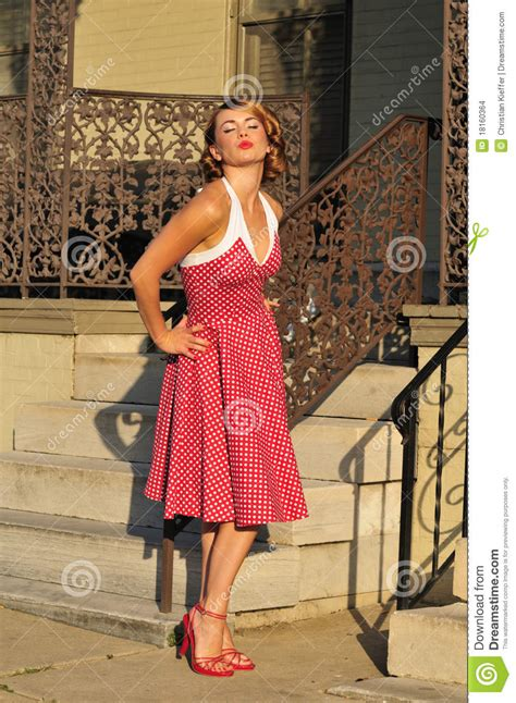 1950 S Pinup Girl Blowing A Kiss Stock Photo - Image of ...