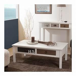 table basse bord de mer avec 4 tiroirs de couleur With tapis jonc de mer avec canape cuir 3 places 2 relax