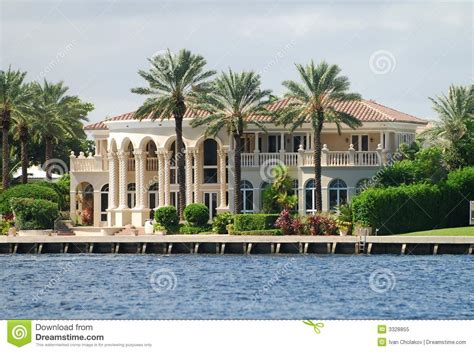 waterfront mansion royalty  stock photo image