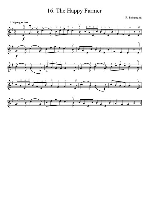 Suzuki Violin Sheet by Suzuki Violin Method V 1 16 The Happy Farmer