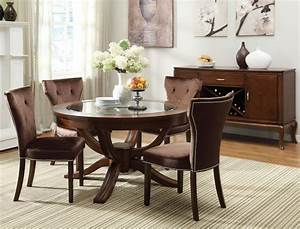 Round Vintage Glass Top Dining Tables With Wood Base And