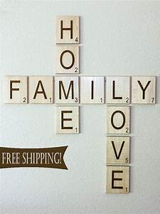 large individual scrabble letters crossword wall decor With family letters wall decor
