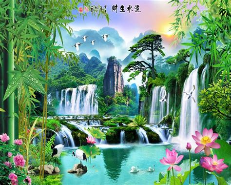 3d Wallpaper Scenery by Beibehang 3d Wallpaper Nature Painting Bamboo Lotus