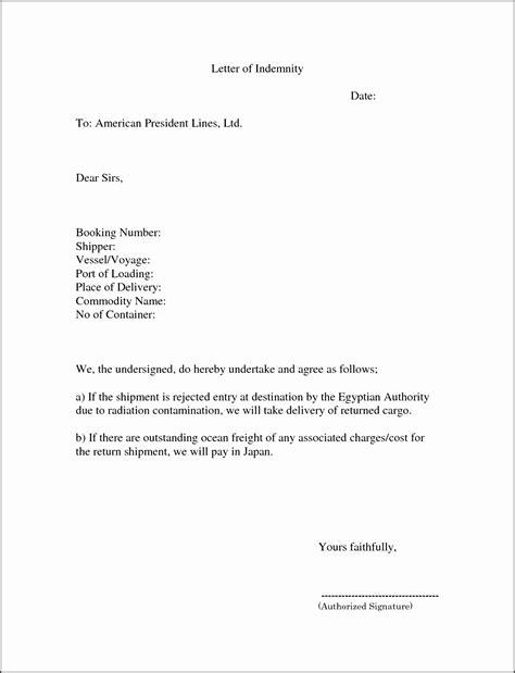 letter  indemnity template sampletemplatess