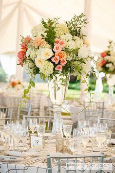tall white peach pink wedding centerpieces Google Search