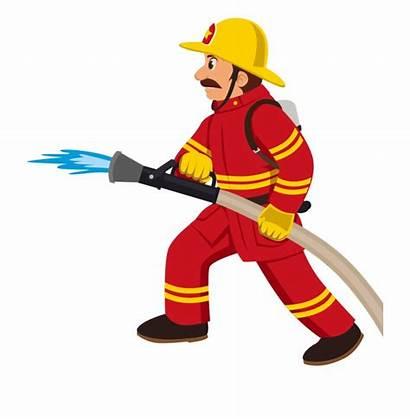 Fireman Fire Cartoon Clipart Fighter Profession Transprent