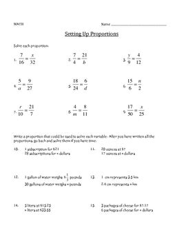 Setting Up Proportions  Math Worksheet By Leslie Mohlman Tpt