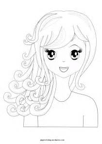 Coloring Page Girl with Curly Hair